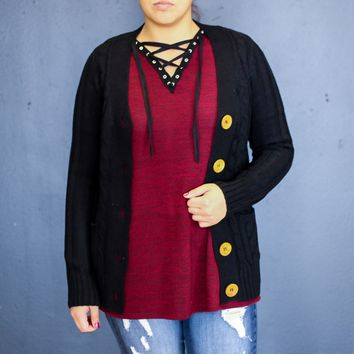 Black Knit Cardigan With Buttons