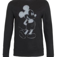 Black Spray Mickey Printed Sweatshirt - Men's Hoodies & Sweatshirts - Clothing - TOPMAN