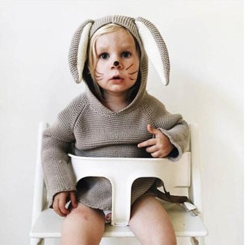 2017 New Spring Autumn Kids Cotton Rabbit Style Long Ear Hooded Sweaters For Boys Girls Baby Fall Sweater Knit Clothing Cardigan