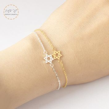 Jewish David Star Best Friend Charm Bracelet Israel Gold Color Bileklik Erkek Stainless Steel Women Fashion Jewelry 2018