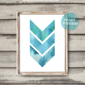 Modern Art Chevron Watercolor Printable Abstract Watercolor Print Blue Green Watercolor Chevron Printable Beach Decor Office Art Coastal Art