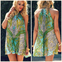 The Rainforest Mint Paisley Disco Dress