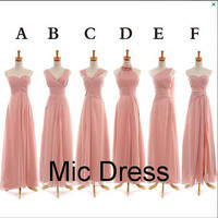Different style sleeveless floor-length chiffon lace up back long homecoming dresses and bridemaid dresses for hot sale