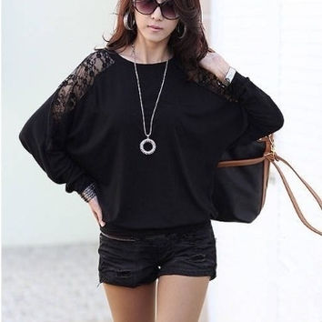 Women's Fashion Women Sexy Lace Batwing Long Sleeve Loose T-Shirt Tops Blouse Pullover DZ88 3580 = 1946804868