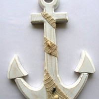 "Large Anchor Wall Plaque Nautical Beach Tropical Decor - 18"" Tall 12.5"" Wide"