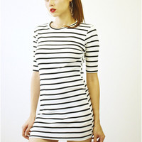 Monochrome Striped Cotton Dress