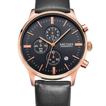 Megir Quartz Chrono (Black, Gold)