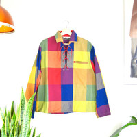 60s/70s colorful checkered top with lace up opening // vintage unisex collared shirt