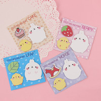 1 PCS Cartoon Molang Rabbit Sticky Note Memo Pad Bookmark Creative Gifts Students Essential Supplies