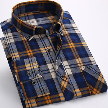 Men's Flannel Casual Long Sleeve Slim Fit Shirts