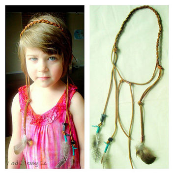 Braided Leather and Big Sur Jade Headband -- Ad...