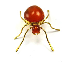 Amber Brooch, Spider Brooch, Bug Brooch, Ant Brooch, Insect Jewelry, Figural Brooch, Gold, Halloween Spooky, 1970s Russian, Vintage Jewelry