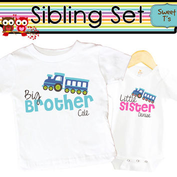 Set of 2 Shirts Bodysuit Train Big Brother Little Sister Sibling Set Cute