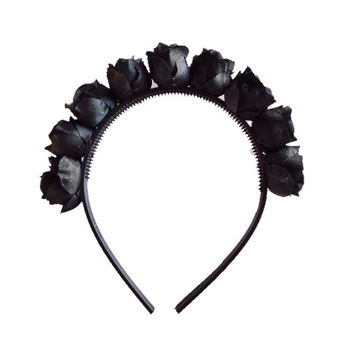 "Handmade Black ""Flower Fairy"" Rosebud flower crown with Black Headband - Black Floral Crown"