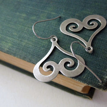 Heart Swirl Earrings - Antiqued Silver Brass Swirl Charm Earrings Silver French Hook Earwires