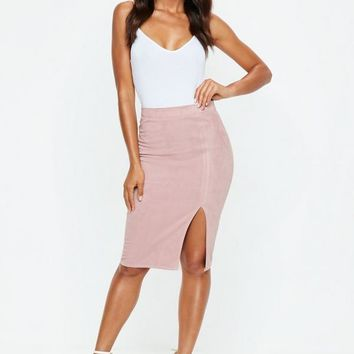 Missguided - Pink Faux Suede Side Split Midi Skirt