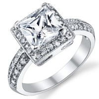 2 Carat Princess Cut Cubic Zirconia Sterling Silver 925 Wedding Engagement Ring Sizes 4 to 11