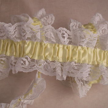 White Elastic Ruffled Lace with Yellow Maize Ribbon, Lingerie, Lace for Garters, Bridal Accessories, Lace for Costumes, Prom Garters