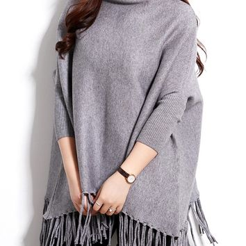Casual Turtleneck Fringe Plain Batwing Sleeve Plus Size Sweater