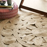 Plum & Bow Flora Braided Jute Round Rug- White One