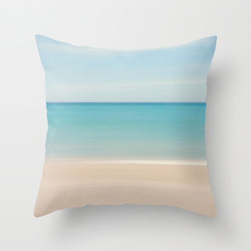 Beach Decor Throw Pillow Beach Cottage Living Room Pastel Aqua Turquoise Beige Blue Nautical Stripes Preppy Tropical Home Abstract Pillow