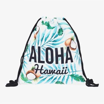 Floral Aloha Hawaiian Tropical Coconut Backpack Drawstring Bag