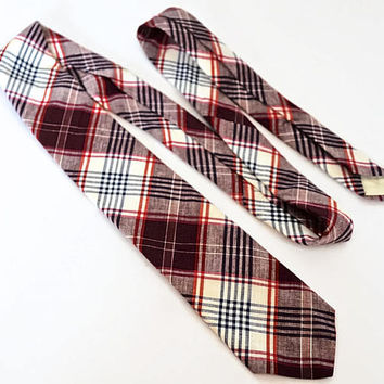 BROOKS BROTHERS Vintage Tie,Plaid Madras Cotton Tie,Preppy Tie,Red, White and Blue Tartan Tie,Summer Tie,Casual Ties,Made In U.S.A.