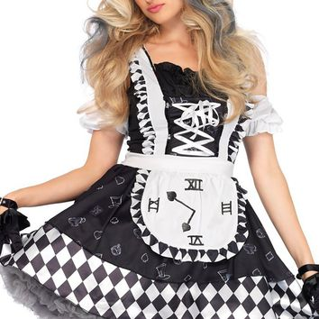 Lost In Wonderland Black White Diamond Geometric Pattern Off The Shoulder Short Sleeve Ruffle Apron Flare A Line Mini Dress Halloween Costume