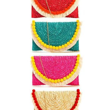 Artisan Boho Pom-Pom Woven Clutch in 4 Colors