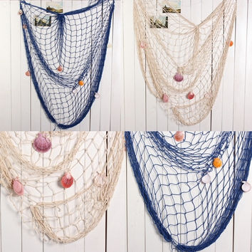 New Nautical Seaside Beach Decorative Fish Net Shells Home Wall Party Decor = 1946816260