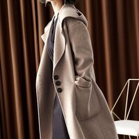 Hooded Double Faced Wool Coat