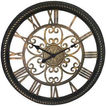 """Westclox(R) 32949BK 19.5"""" Wall Clock with Antique Black and Gold Finish"""