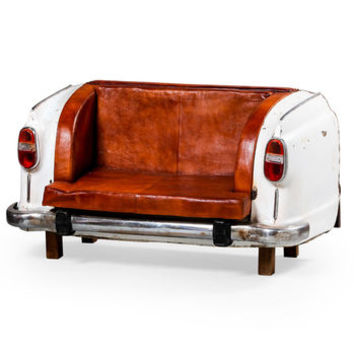 Vintage Upcycled Classic Car Leather Sofa
