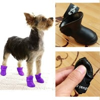 4 x Pet Shoes Dog Waterproof Rain Boots Booties Rubber Shoes Candy Colors 4 Colors = 1958033412