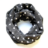 Adult Cowl Heart Scarf Valentine's Day Scarf Tube Scarf Circle Scarf Eternity Scarf Grey Scarf Teen Scarf Cute Gift Idea Ready To Ship