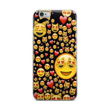 Cats & Red Hearts Emoji Collage Teen Cute Girly Girls Red Black & Yellow iPhone 4 4s 5 5s 5C 6 6s 6 Plus 6s Plus 7 & 7 Plus Case