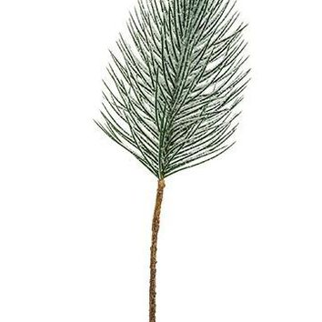 "Artificial Snowy Long Needle Pine Branch - 27"" Tall"