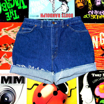 High Waisted Denim Shorts, Vintage 80s Dark Washed Jean Shorts w Contrast Stitching, Frayed Rolled Up CHIC BRAND Cut Offs Size 14 Misses L