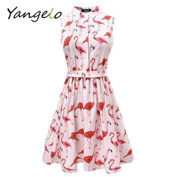 Vestods Summer 2017 Women Dress Strawberry Cactus Flamingo Unicorn Fun Flare Prints Casual High Waist Cute A Line Mini Dress