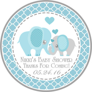 """Blue Elephant Baby Shower Stickers Or Favor Tags - 2.5"""" Round"""