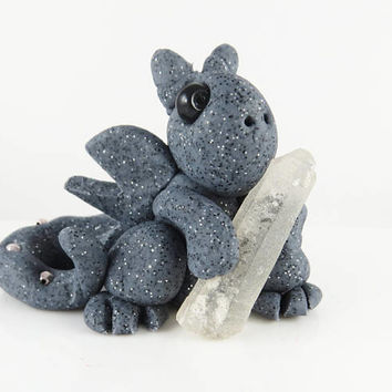 Polymer clay granite baby dragon with magic crystal
