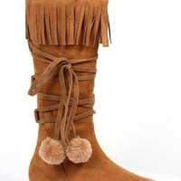 ICIKYE 1 Inch Heel Boot With Fringe And Poms Childrens. (Medium,Tan)