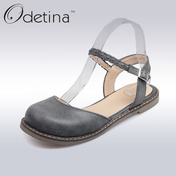 Odetina New Fashion Women Buckle Strap Mary Jane Flat Shoes Casual Round Toe Sweet Slingback Ballet Flat Ankle Strap Larger Size