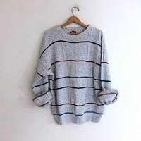 vintage oversized striped gray pullover sweater. mens cotton sweater. boyfriend sweater.