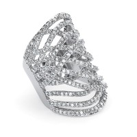 3.57 TCW Round Cubic Zirconia Platinum-Plated Elongated Ring