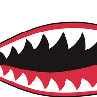 P40 Style Shark Teeth/Jaw Stickers