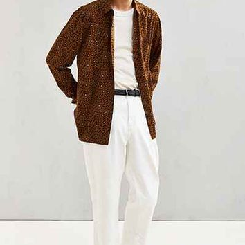 UO Owen Leopard Rayon Button-Down Shirt - Urban Outfitters
