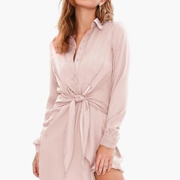 Missguided - Pink Tie Waist Satin Shirt Dress