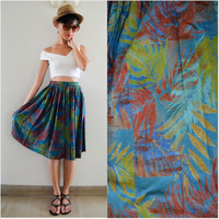 1960 Vintage Skirt/ Colours of Tropic Skirt/ Small Skirt/ Summer Skirt/ Tropical Skirt/ Pleated Skirt/ Blue Midi Skirt/ Japanese Vintage