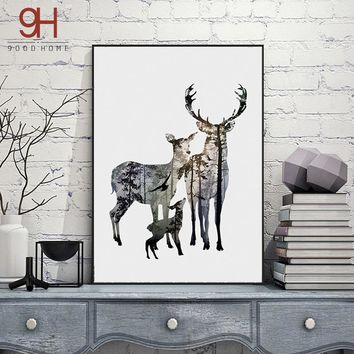 Silhouette of Deer Nordic Poster Paintings On The Wall Decoration Pictures Scenery Posters And Prints Wall Art FA396